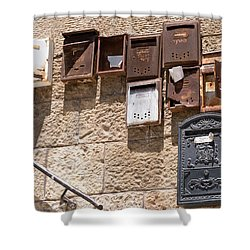 Old  Mailboxes In Jerusalem Shower Curtain by Yoel Koskas