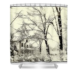 Old Victorian In Winter Shower Curtain by Julie Palencia