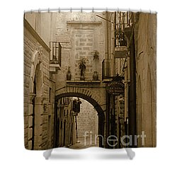 Shower Curtain featuring the photograph Old Village Street by Frank Stallone