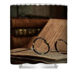 Old Vintage Books With Reading Glasses Shower Curtain