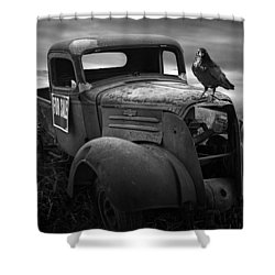 Old Vintage Chevy Pickup Truck With Ravens Shower Curtain