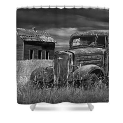 Old Vintage Pickup In Black And White By An Abandoned Farm House Shower Curtain