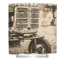Shower Curtain featuring the photograph Old Vintage Tractor Brown Toned by Edward Fielding