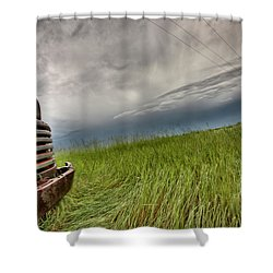 Old Vintage Truck On The Prairie Shower Curtain by Mark Duffy