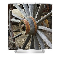 Shower Curtain featuring the photograph Old Waagon Wheel by Phyllis Denton