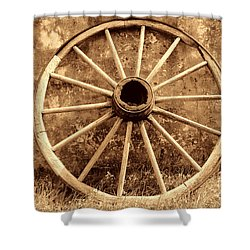Old Wagon Wheel Shower Curtain by American West Legend By Olivier Le Queinec