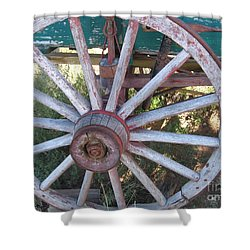 Shower Curtain featuring the photograph Old Wagon Wheel by Dora Sofia Caputo Photographic Art and Design