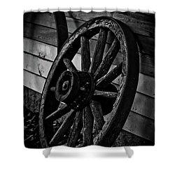 Old Wagon Wheel Shower Curtain by Joann Copeland-Paul