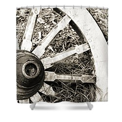 Old Wagon Wheel Shower Curtain by Marilyn Hunt