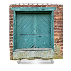 Old Warehouse Loading Door And Brick Wall Shower Curtain