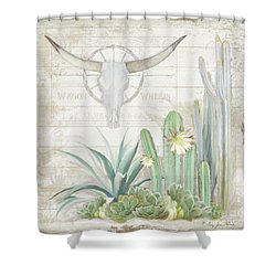 Old West Cactus Garden W Longhorn Cow Skull N Succulents Over Wood Shower Curtain by Audrey Jeanne Roberts