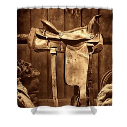 Old Western Saddle Shower Curtain by American West Legend By Olivier Le Queinec