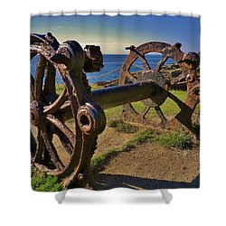 Old Winch Tintagel Shower Curtain by Richard Brookes