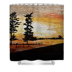 Old Windbreak Shower Curtain by R Kyllo