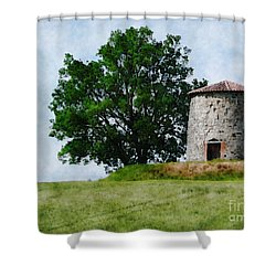 Shower Curtain featuring the photograph Old Windmill by Jean Bernard Roussilhe