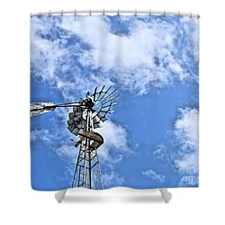 Old Windmill Shower Curtain by Jimmy Ostgard
