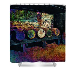 Shower Curtain featuring the digital art Old Wine Barrels by Glenn McCarthy Art and Photography