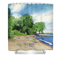 Shower Curtain featuring the drawing Old Woman Creek - Huron Ohio by Shawna Rowe