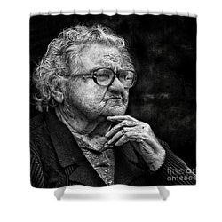 Old Woman Lost In Thought Shower Curtain by Stephan Grixti