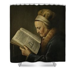 Old Woman Reading Shower Curtain by Gerard Dou