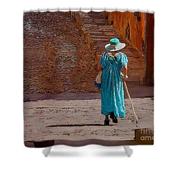 A Woman Walking Home Shower Curtain