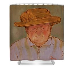 Old Woman With Yellow Hat Shower Curtain