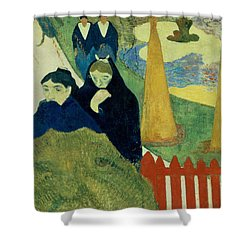 Old Women Of Arles Shower Curtain by Paul Gauguin