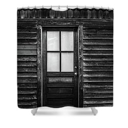 Old Wood Door And Light Black And White Shower Curtain by Terry DeLuco