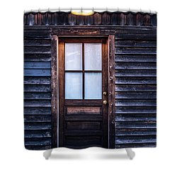 Old Wood Door And Light Shower Curtain by Terry DeLuco