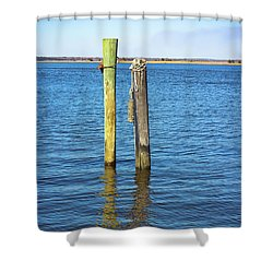 Shower Curtain featuring the photograph Old Wood Pilings In Blue Water by Colleen Kammerer