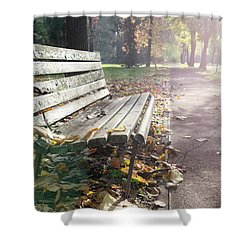 Rustic Wooden Bench During Late Autumn Season On Bright Day Shower Curtain