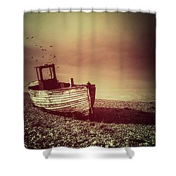 Old Wooden Boat Shower Curtain