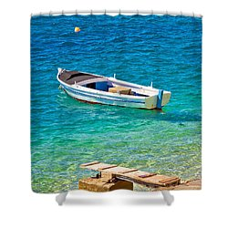 Old Wooden Fishermen Boat On Turquoise Beach Shower Curtain