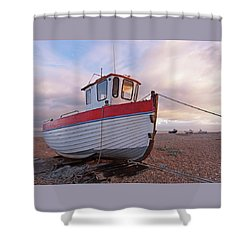 Old Wooden Fishing Boat Home By Sunset Shower Curtain