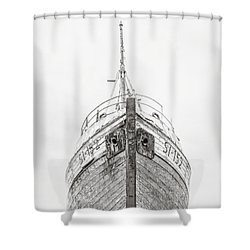 Shower Curtain featuring the photograph Old Wooden Fishing Boat In The Fog Iceland by Edward Fielding