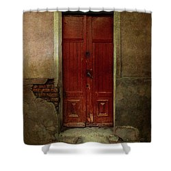 Old Wooden Gate Painted In Red  Shower Curtain by Jaroslaw Blaminsky