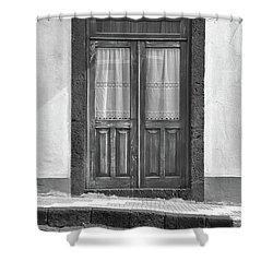 Old Wooden House Door Shower Curtain