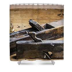 Shower Curtain featuring the photograph Old Wooden Planes by Trevor Chriss