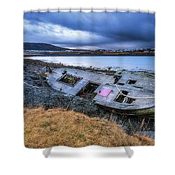Old Wooden Ship On Beach Shower Curtain