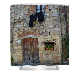 Shower Curtain featuring the photograph Old World Door by Frank Stallone