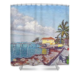 Old Yellow Gas Station By The Waterfront - Cooper's Town Shower Curtain