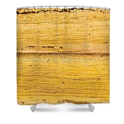 Shower Curtain featuring the photograph Old Yellow Paint On Wood by John Williams