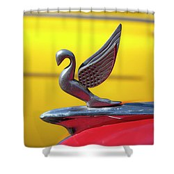 Shower Curtain featuring the photograph Oldsmobile Packard Hood Ornament Havana Cuba by Charles Harden
