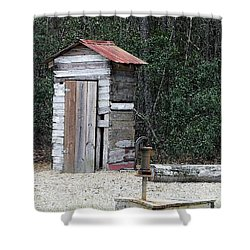 Oldtime Outhouse - Digital Art Shower Curtain