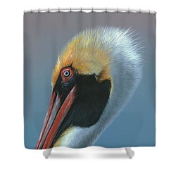 Shower Curtain featuring the painting Ole Blue Eyes by Mike Brown