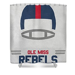Ole Miss Rebels Vintage Football Art Shower Curtain by Joe Hamilton