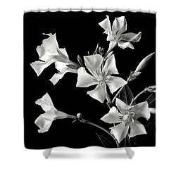 Oleander In Black And White Shower Curtain by Endre Balogh