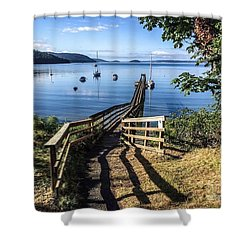 Shower Curtain featuring the photograph Olga Pier by William Wyckoff