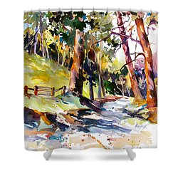 Shower Curtain featuring the painting Olinda Trees Maui 2 by Rae Andrews