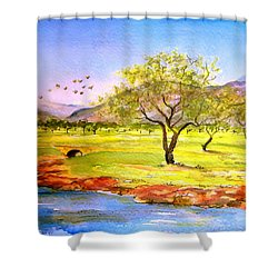 Shower Curtain featuring the painting Olive Grove by Valerie Anne Kelly